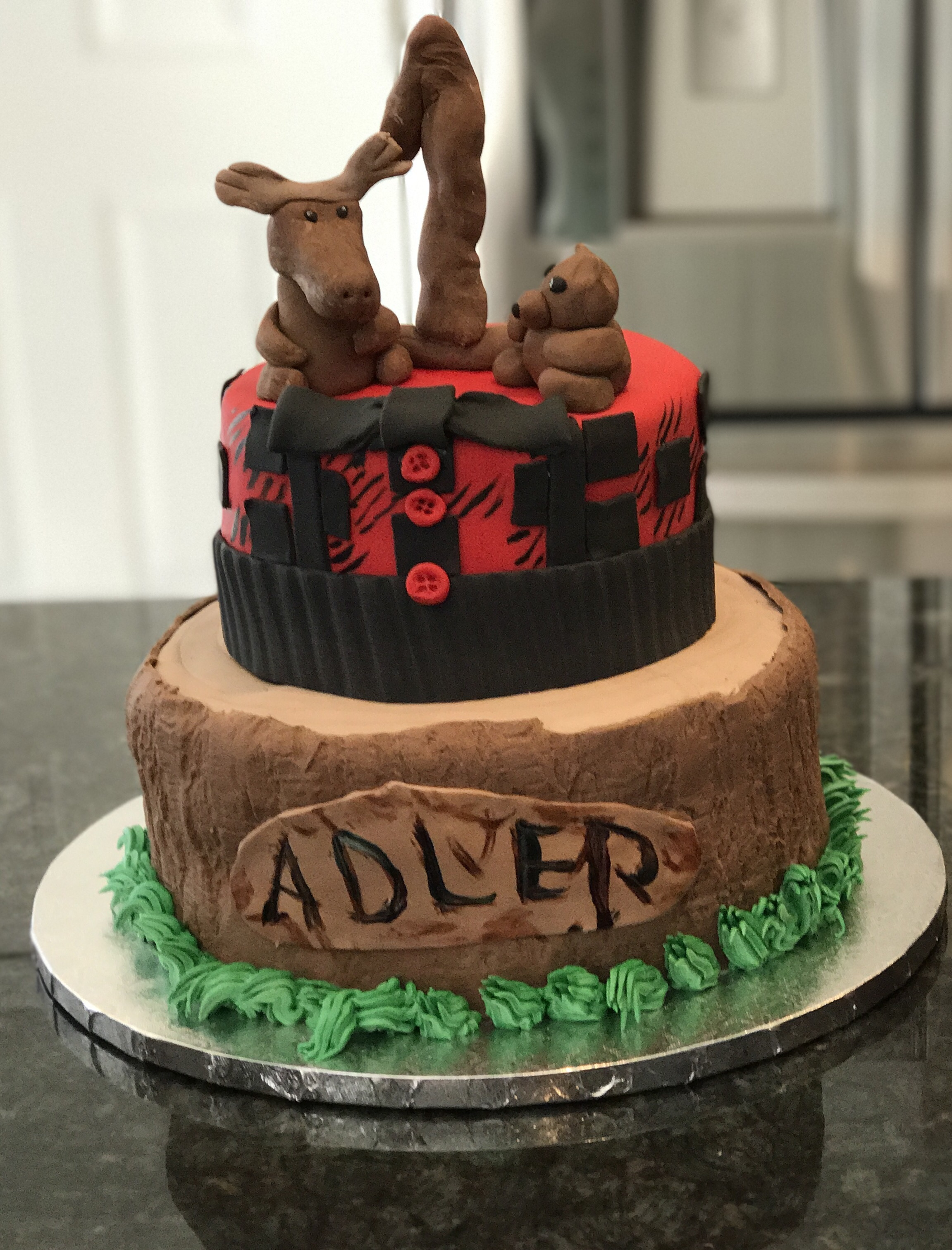 Lumberjack First Birthday - Buffalo birthday cake